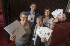 24/10/17 TIS and Scottish government held consultations about installing fire and smoke detectors in flats and hi rise- tenants Pearl Smart (L) and Wilma Cheyne with Luke Macauley- Head of Housing strategy and Quality- Scottish Governmaent & LYNDA JOHNSTONE - TIS development  director-