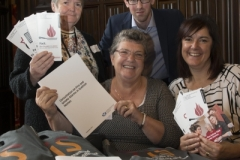 24/10/17 TIS and Scottish government held consultations about installing fire and smoke detectors in flats and hi rise- L-R-tenants Wilma Cheyne,Pearl Smart (middle) and  with Luke Macauley- Head of Housing strategy and Quality- Scottish Governmaent & LYNDA JOHNSTONE - TIS development  director-